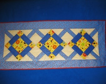 Blue, Yellow, Red Quilted Table Runner