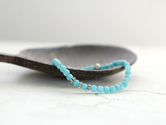 Blue Quartz Bracelet - Gemstone Stretch Bracelet