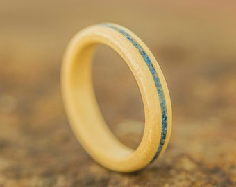 Rock Maple Bentwood Ring featuring a Lapis Lazuli Stone Inlay - Wood Ring - And We Plant A Tree:)