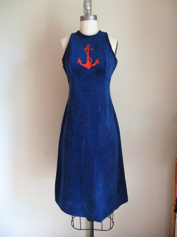 60's 70's Nautical Velour Halter Top Sailor Dress with Bright Red Anchor