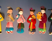Chinese unique hand painted fabric dolls