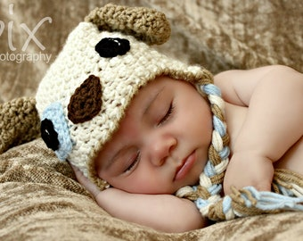 Patchy Puppy Earflap Hat CROCHET PATTERN instant download dog beanie