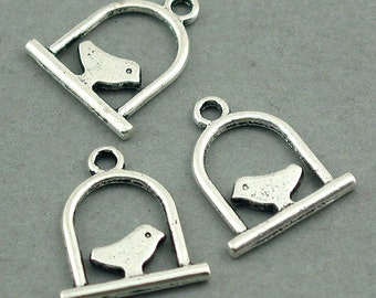 Bird Cage Charms Antique Silver 8pcs base metal Charms 15X17mm CM0285S