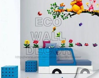 PEEL and STICK Kids Nursery removable Vinyl Wall Sticker Mural Decal Art - Winnie the Pooh Stick Sitting Branch I