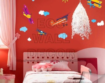 PEEL and STICK Kids Nursery Removable Vinyl Wall Sticker Mural Decal Art - Airplaines flying in the Sky