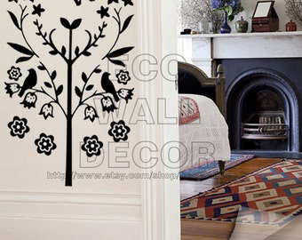 PEEL and STICK Removable Vinyl Wall Sticker Mural Decal Art - Little Black Tree Lilly Flower and Butterfly