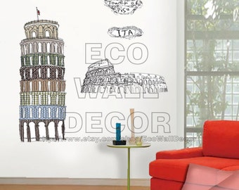 PEEL and STICK Removable Vinyl Wall Sticker Mural Decal Art -Italy Tower of Pisa