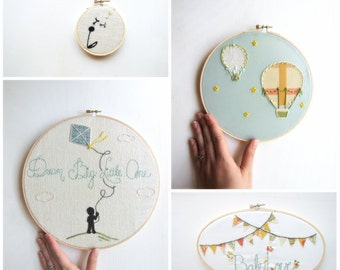 Embroidery Hoop Art Set Modern Nursery Set of Four as featured on Kid Style File