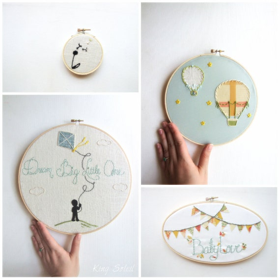Embroidery hoop art set modern nursery of four as featured