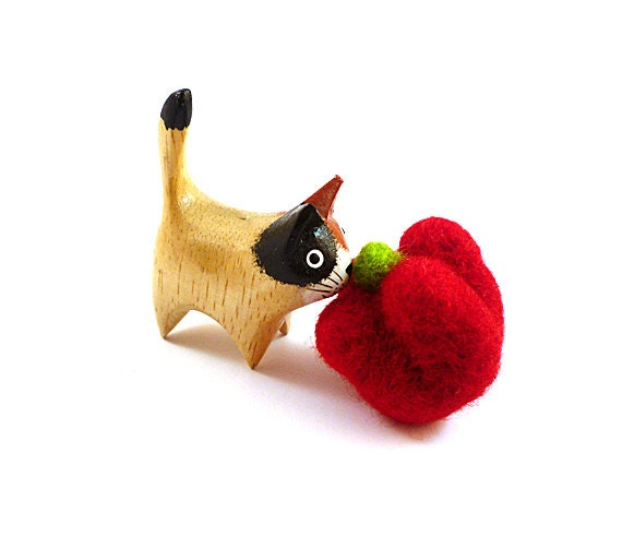 Red Bell Pepper Catnip Cat Toy - Needle Felted Wool