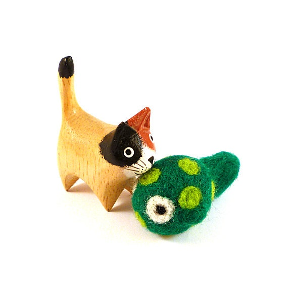 Green Spotted Fish Catnip Cat Toy - Needle Felted Wool