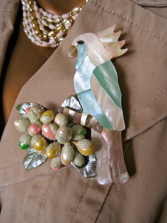 Parrot Brooch Collage:  Vintage 80s Mother of Pearl Bird with 50s Berries Pastel Oversized Latest Runway Trend One of a Kind ooak