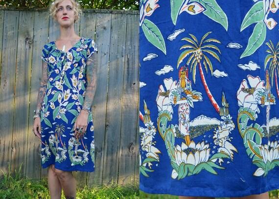 SALE Retro 50s Revival Rockabilly Hawaiian Dress
