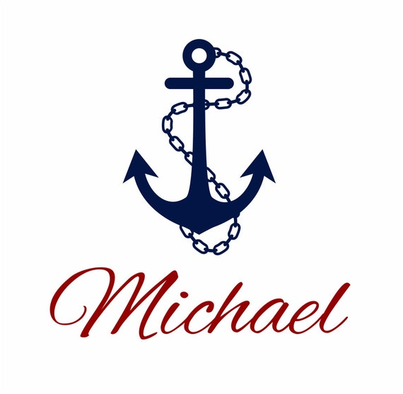 """Nautical Vinyl Wall Decal Personalized Name Wall Decals Sailboat Anchor Wall Decals for Boy Baby Nursery Boys Room 22""""Hx22""""W Wall Art FS249"""