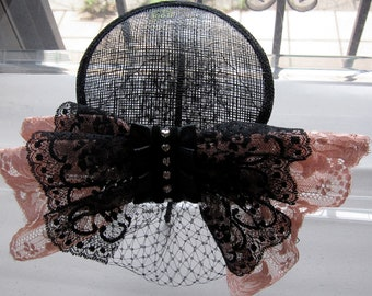 Black Lace Pink Crystal Bow Sinamay Fascinator Hat with Veil and Satin Headband, for weddings, parties, cocktail, evening, special occasions