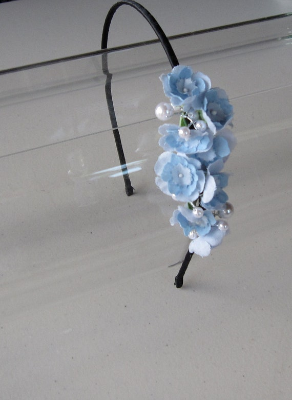 Pale Blue Flower and Pearl Black Satin Headband, for weddings, parties, special occasions
