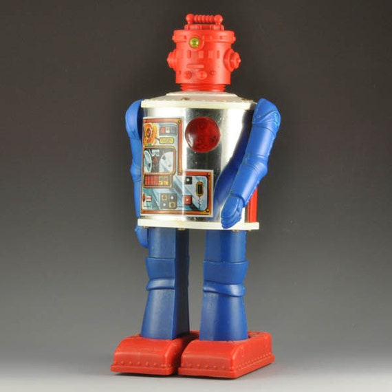 Vintage  Toy Robot - Durham Industries Robot  2500 - 1976 Battery Powered Plastic Space Toy with Bicentennial Theme in Red, White and Blue