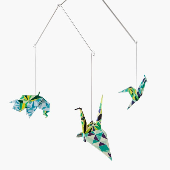 Zoo Origami Mobile: Mosaic collection - NEW DESIGN -