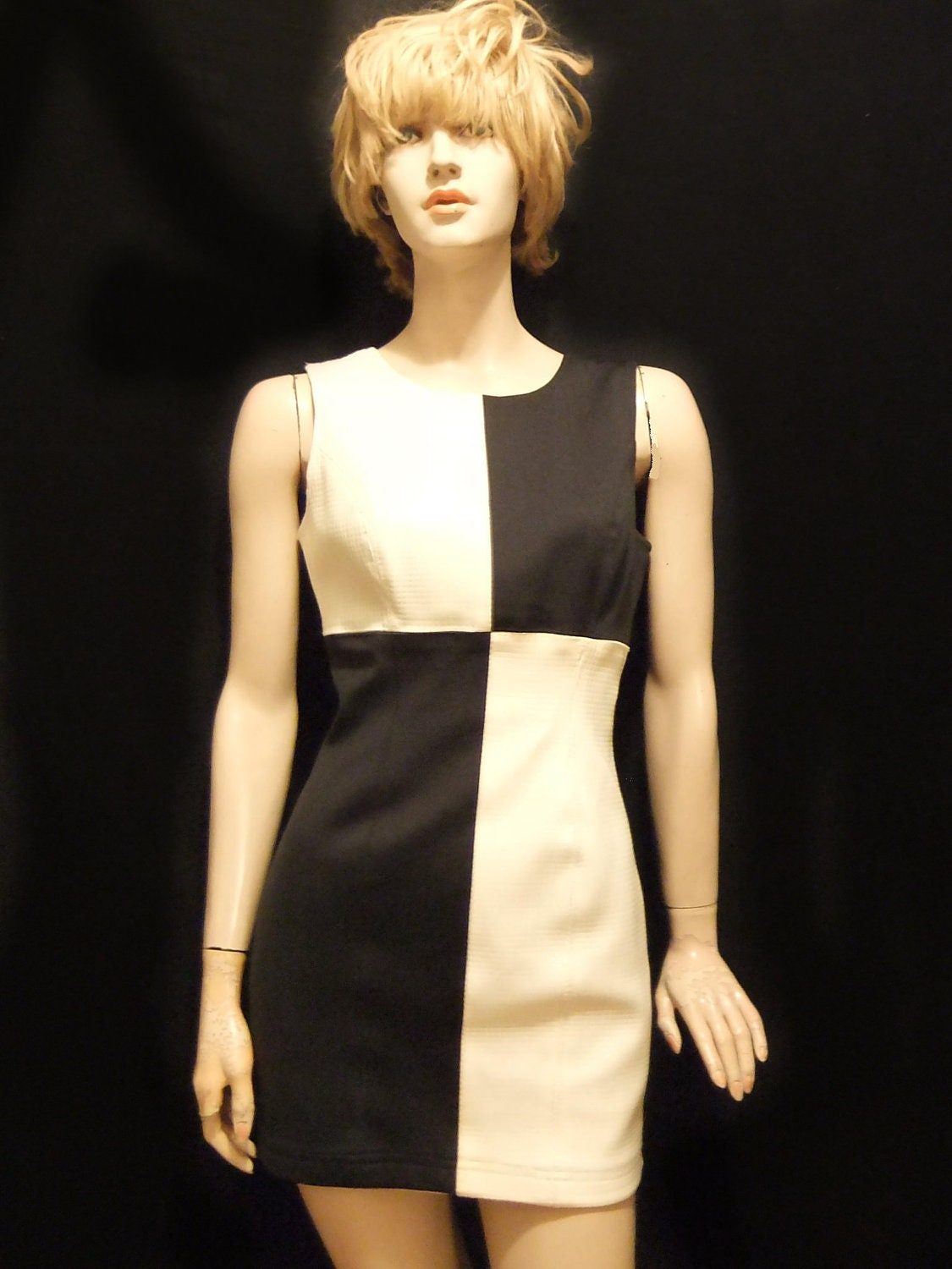 Mod Mini Dress Futuristic Black And White Shift Dress 60s