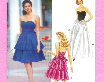 Vintage 1990 Butterick 4641 Misses' Strapless Prom Dress From The Glamour Collection, In 2 Lengths, Sizes 6, 8, 10