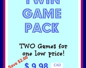 Instant Download- Twin Card Bible Game Pack - Save 2.00 - Printable Cards
