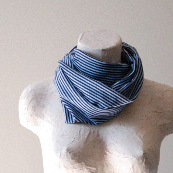 CLEARANCE SALE  Womens Infinity Circle Scarf - Upcycled T shirt - Blue Stripes - By LimeGreenLemon