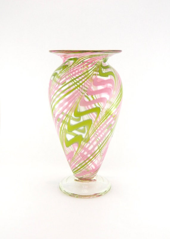 Hand Blown Art Glass Vase - Rose Pink and Leaf Green Cane