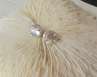 Tiny Sand Dollar Stud Earrings - Summery, Sterling Silver Sand Dollar Earrings on Posts, Children, Second Piercings, Cartilage