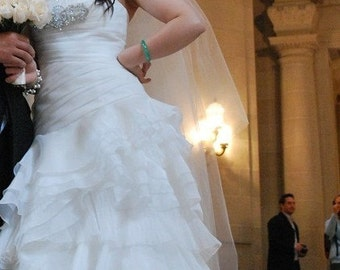 Drop veil 2 tier cathedral wedding veil, bridal veil, soft, classic,elegant, sheer simple, floor length veil, waltz length veil, chapel veil