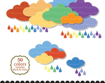Rain clip art rainbow clipart baby shower silver cloud raindrops stitch printable scrapbook baby invitation : c0280 v301