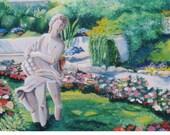Italian Garden Landscape with Statue - Original Acrylic Painting - Giardini di Agosto, Capri
