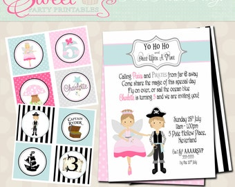 Pirates & Pixie Fairy Birthday Party Package- Printable PDF files