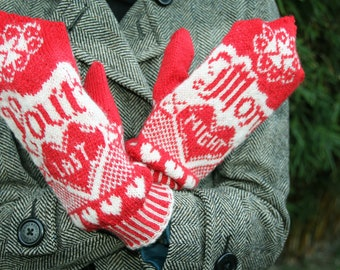 Your Mom Last Night - Mitten Pattern - Knitting Pattern - Red & White Humorous Mittens - Pattern PDF