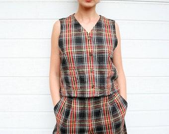 Vintage Plaid Vest and Shorts Two Piece Set