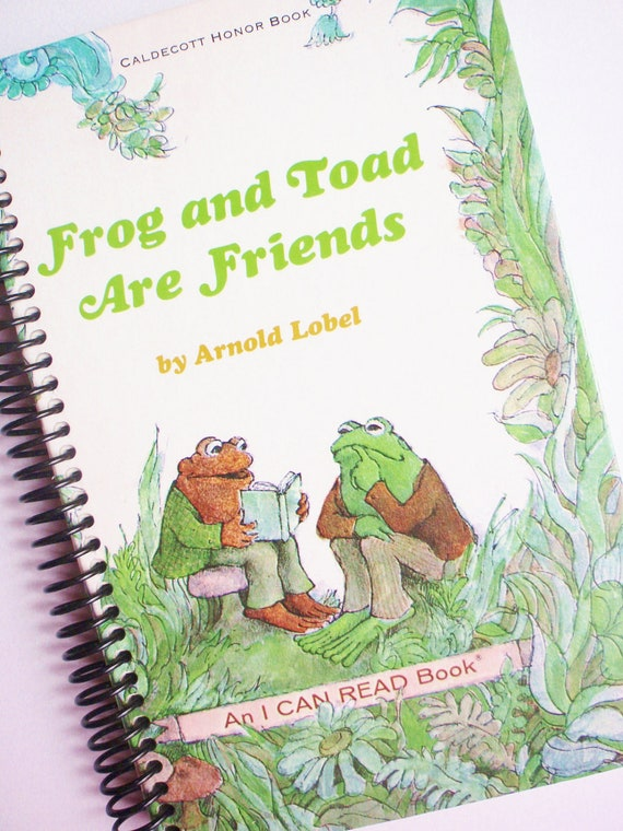 Journal Notebook Book  FROG and TOAD spiral bound Recycled from a Caldecott Honor Book