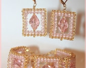 Glamorous golden and pink squares jewelry set of Japanese seed beads and Swarovski crystals bracelet cuff beadwoven Right Angle