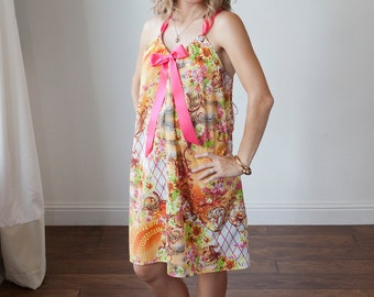 Maternity Hospital Gown-Orange with Pink Colorful Cheetah Print, Hot Pink Bow  (labor and delivery hospital gown)