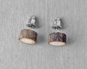 Wood Slice Stud Earrings - Hardwood Faux Plug Fake Gauge Post Earrings with Surgical Steel Posts