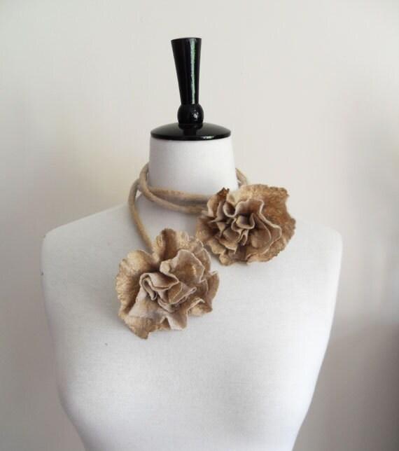 Fiber Felt Necklace Flower Necklace Beige and golden silk tones