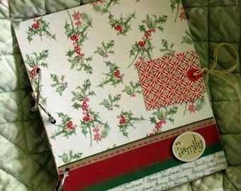 "MTO Christmas Card Holder for ""FAMILY""//album, mini scrapbook//Organize, View and Store Christmas Cards you want to keep"