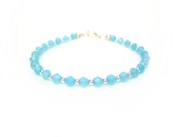 Crystal Bead Bracelet, Blue Crystal Bracelet, Crystal Jewelry, Beaded Jewelry