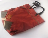 Cotton Leather / Bag Tote / Everyday Shopper /Tomato red / Holdall  / Shoulderbag / One of a kind