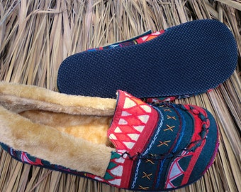 Men's Slippers Akha Tribal Embroidery on Cotton Plush Lined GIft - Riley