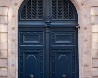Paris Photograph - Navy Blue Door, Parisian Travel Fine Art Photograph, Home Decor, Wall Art