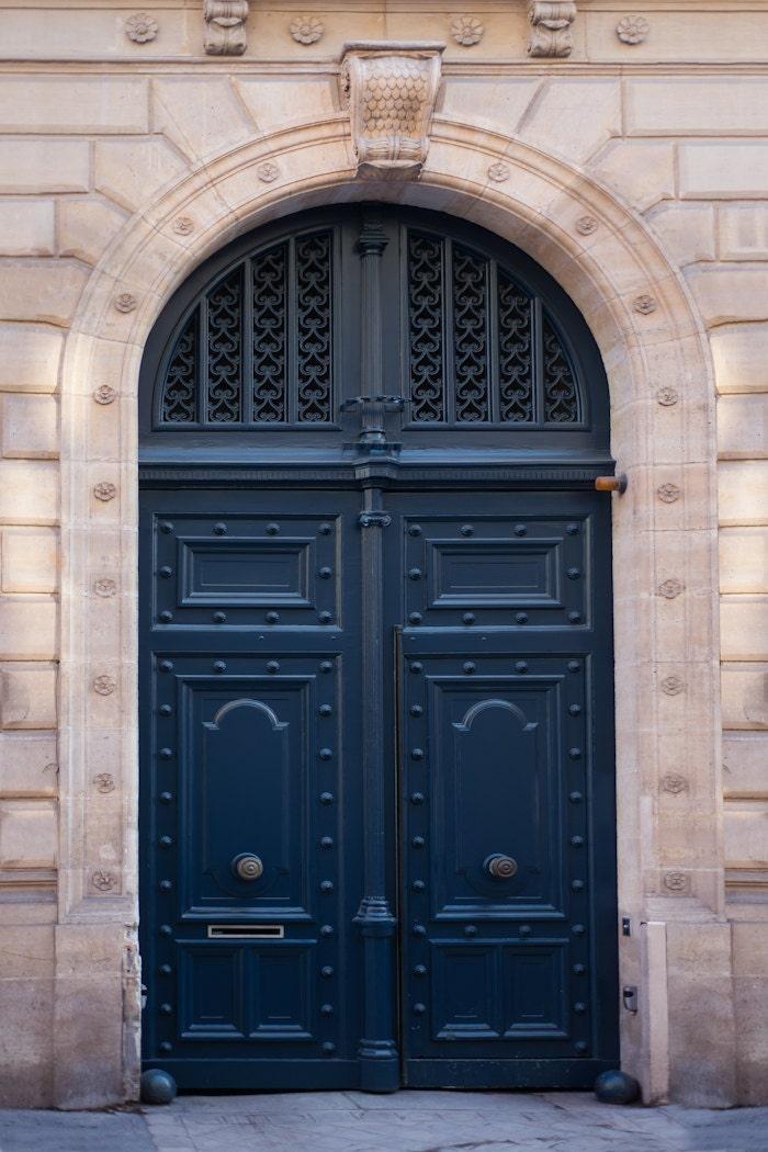 Paris photograph navy blue door parisian travel fine art for Parisian home