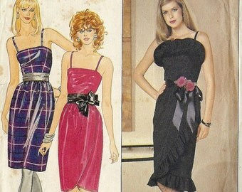 PATTERN Butterick 4656 Semi fitted dress with mock wrap skirt and frill Size 12