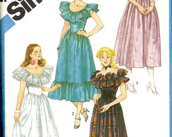 PATTERN Simplicity 6235 Dress On/Off the Shoulder frill fitted bodice full gathered skirt Size 14 (Uncut)