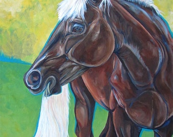 "18"" x 24"" Custom Pet Portrait in Acrylic Paint on Canvas of One Horse, Dog, Cat, or Other Animal Horse Lover Gift Equine Art OOAK"