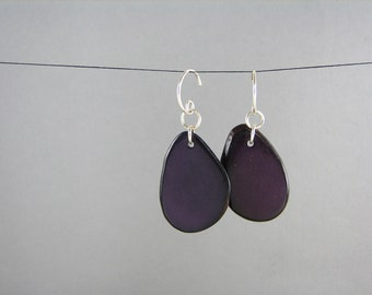 ECO Tagua Purple Earrings Valentines Day Jewelry