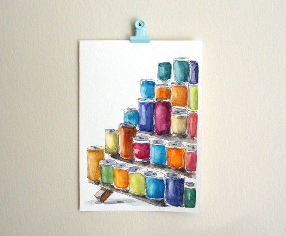 Sewing art thread spools watercolor painting gift for crafter gift for seamstress colorful sewing room decor